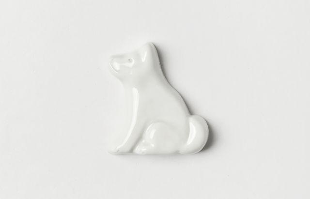 阿部春弥 箸置(犬・横向き)白磁
