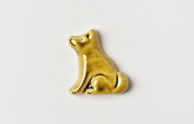 阿部春弥 箸置(犬・横向き)黄磁
