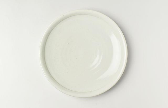 阿部春弥 白磁丸縁8寸皿