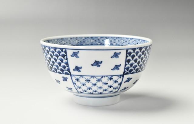 吉岡将弐 飯碗 枠絵青海波と千鳥