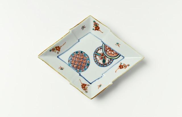 山本恭代 色絵丸文菱形皿