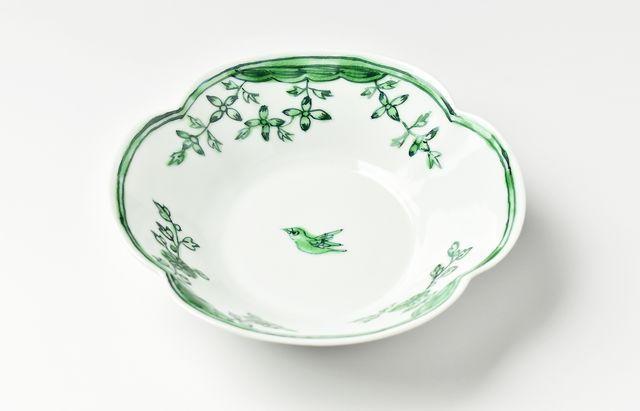 山本恭代 色絵野辺に鳥木瓜形鉢(緑)