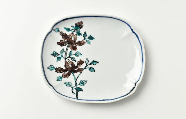 山本恭代 紫牡丹文木瓜皿