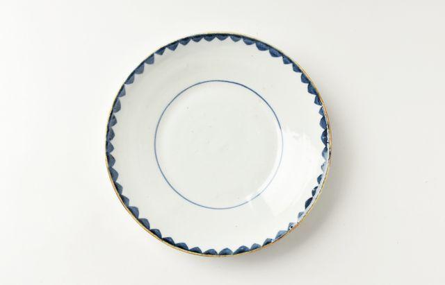 中尾万作 8◆染付ウロコ文6.5寸皿