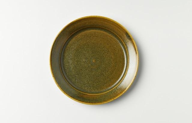 原田七重 リム皿5寸(飴釉)