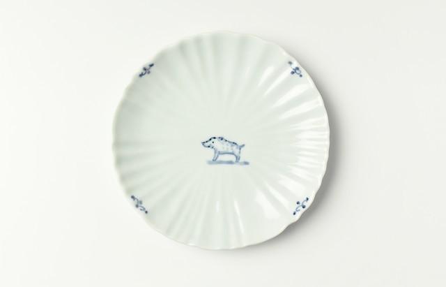 稲村真耶 猪図輪花5寸皿(予約品)