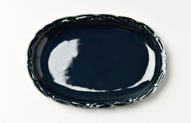 【2020年以降入荷予定】稲村真耶 ルリ釉楕円フリル皿