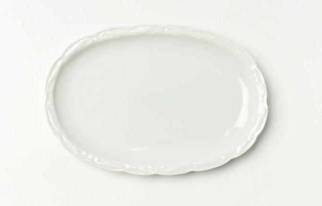 稲村真耶 白磁楕円フリル皿【H】