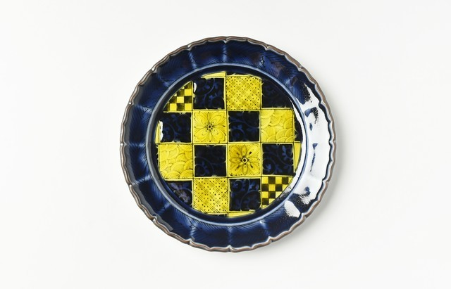 池島直人 紫青手石畳5寸皿