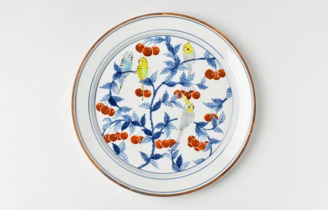 池島仁美 色絵インコプレート皿A