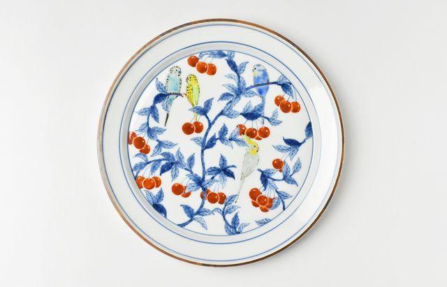 池島仁美 色絵インコプレート皿B