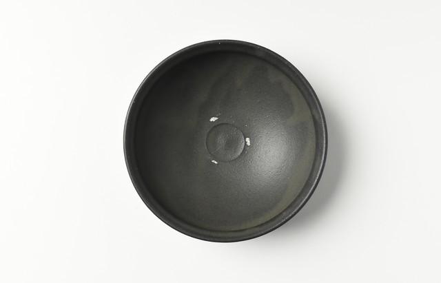 荒賀文成 黒釉五寸馬盥皿【H】