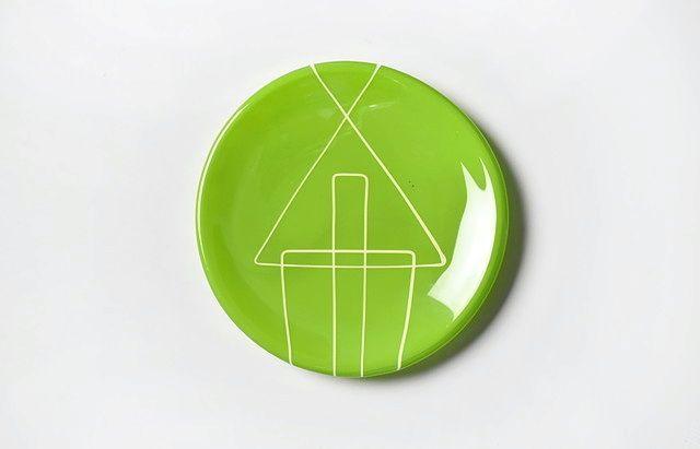 生島明水 模様小皿(緑)