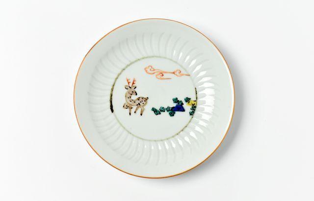 中町いずみ しのぎ4.5寸皿(鹿)