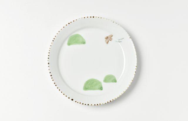 中町いずみ 色絵リム4.5寸皿(里山)