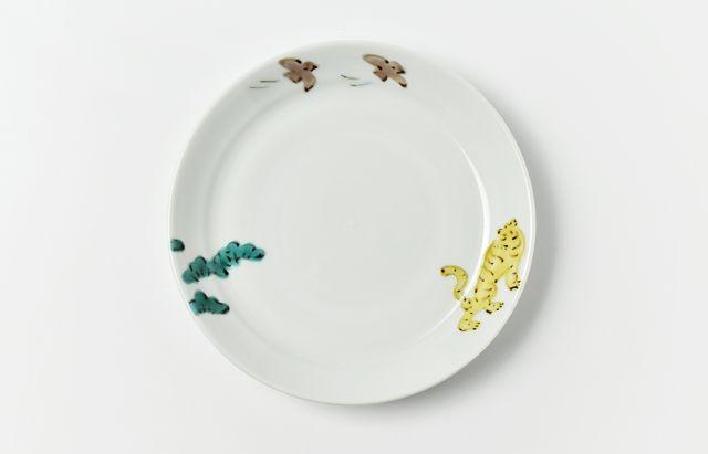 中町いずみ 色絵リム5.5寸皿(松と虎)