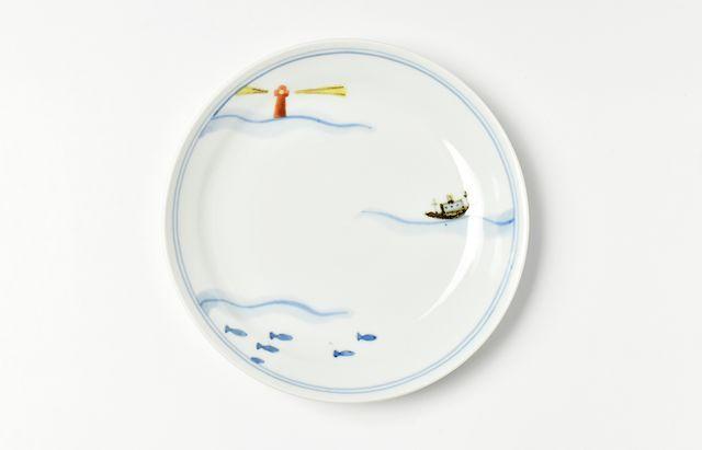 中町いずみ 色絵リム5.5寸皿(灯台)