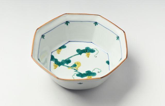 中町いずみ 色絵八角鉢(ブドウに鳥)