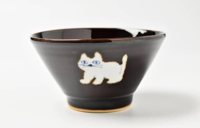 中町いずみ あめ釉飯碗(猫)