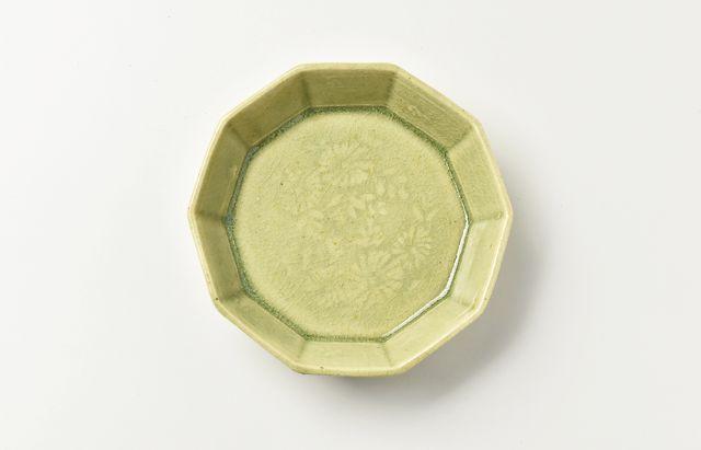 日高伸治 緑釉十角豆鉢【H】