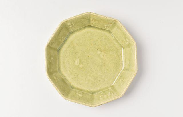 日高伸治 緑釉十角鉢(小)【H】