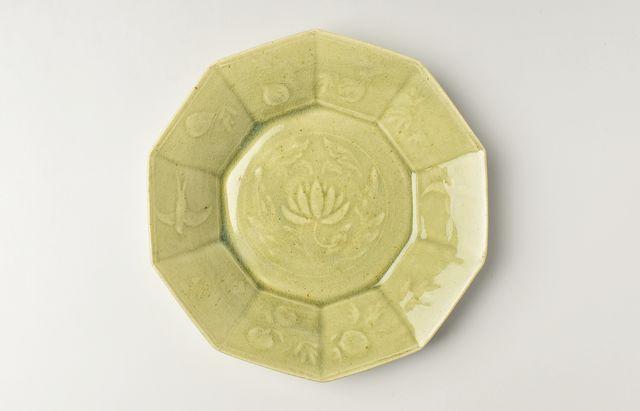 日高伸治 緑釉十角鉢(大)