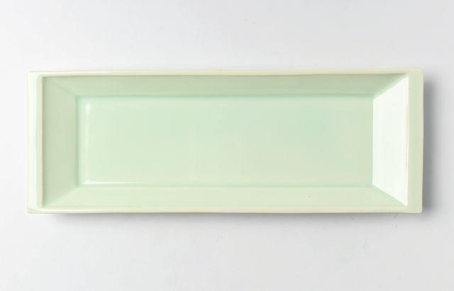 畑中篤 緑白長方皿 大