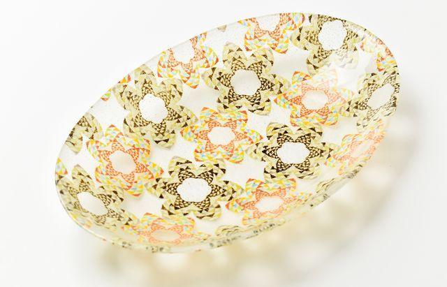 【一点もの】葛和万紀 19◆oval salad bowl万華鏡