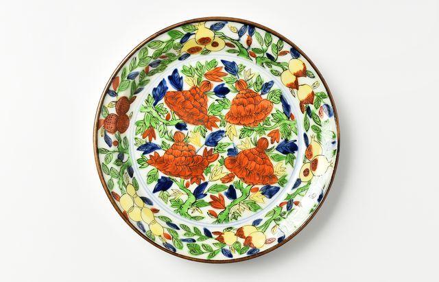廣野俊彦 黄地紅彩牡丹皿