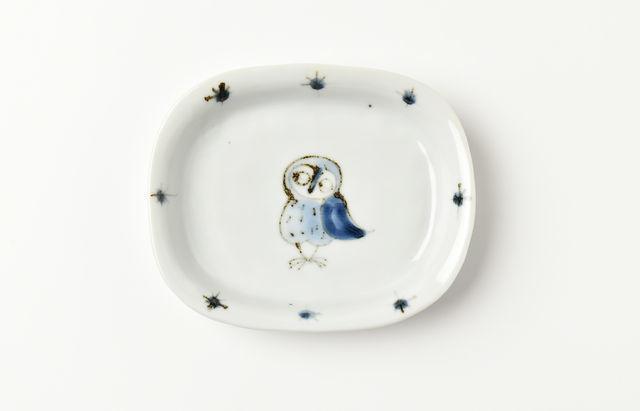 林京子 楕円深皿(小) フクロウ