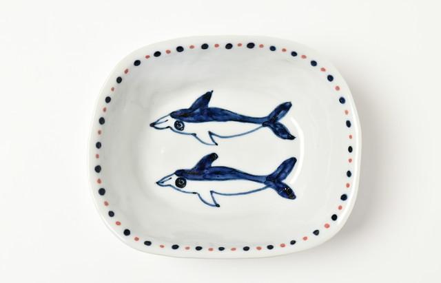 林京子 楕円鉢(中) イルカの友達