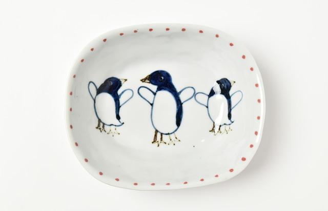 林京子 楕円鉢(中) なかよしペンギン