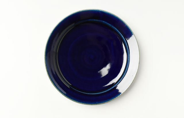 安達和治 ルリ釉カレー皿(中)