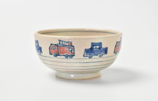 小川佳子 ご飯茶碗(小)くるま(赤・青)