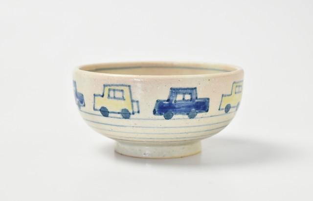 小川佳子 ご飯茶碗(小)くるま(黄・青)