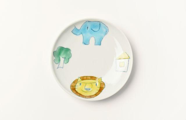 村田菜穂美 5寸皿ゾウとライオン