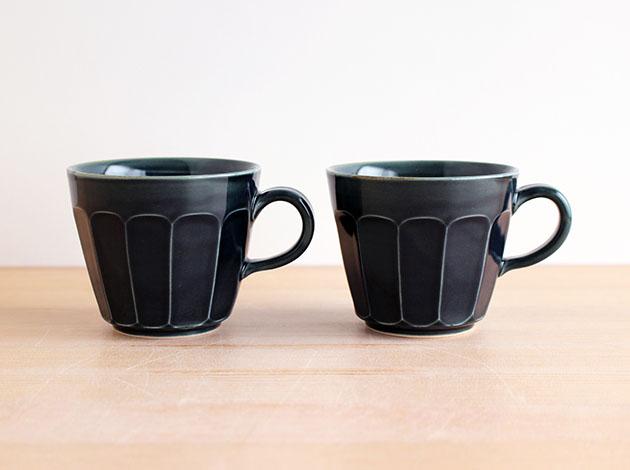 阿部春弥 淡ルリ面取りコーヒーカップ