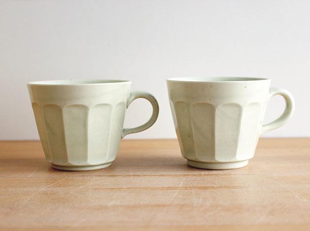 阿部春弥 白磁面取りコーヒーカップ