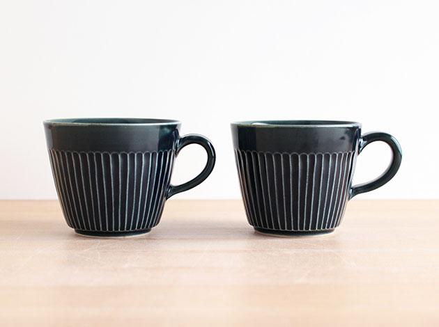 阿部春弥 淡ルリしのぎコーヒーカップ