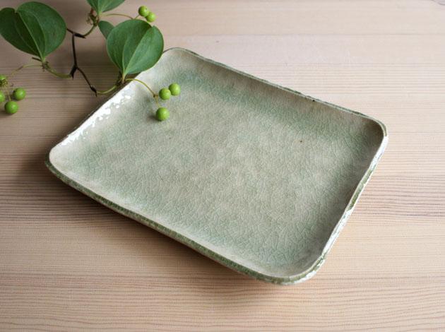 河内啓 ビードロ釉角皿(中)