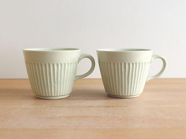 阿部春弥 白磁しのぎコーヒーカップ