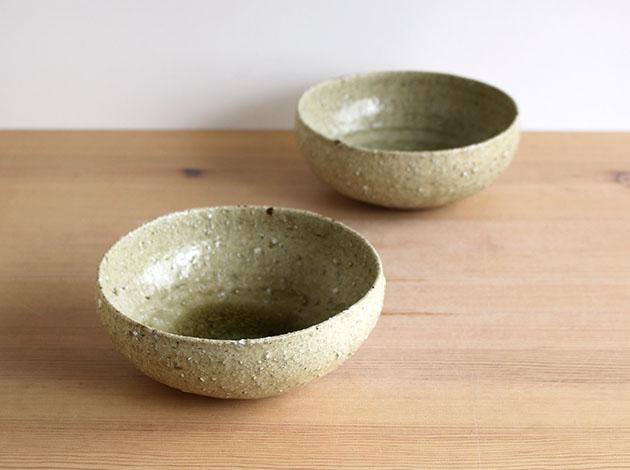 安達健 淡緑灰釉 5寸丸碗