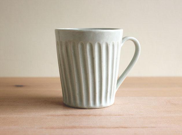 藤塚光男 白磁しのぎマグカップ