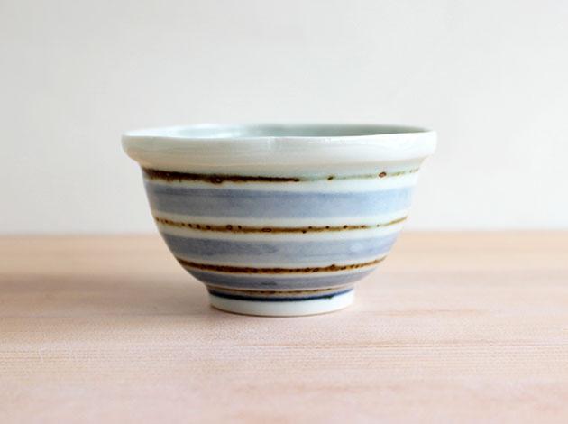 廣政毅 呉須鉄コマ文花形小鉢