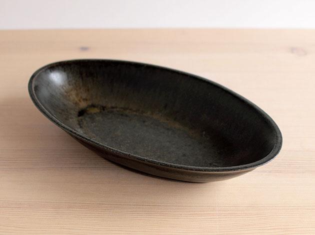 伊藤叔潔 オーバル鉢 鉄釉