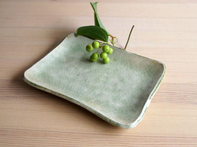 河内啓 ビードロ釉角皿(小)