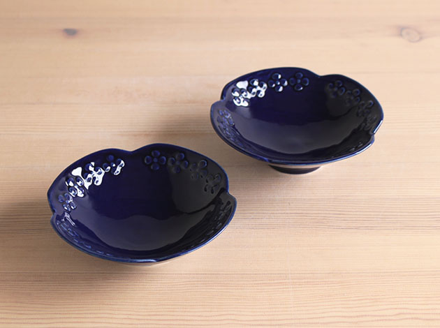 大塚温子 ルリレリーフ鉢(小)