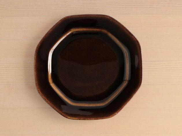 矢口桂司 あめ釉八角皿(小)