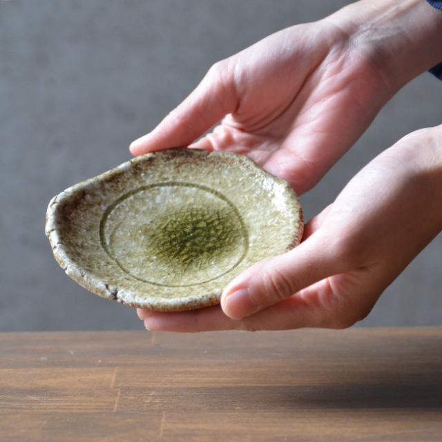信楽焼締豆皿  作家「藤本秀」