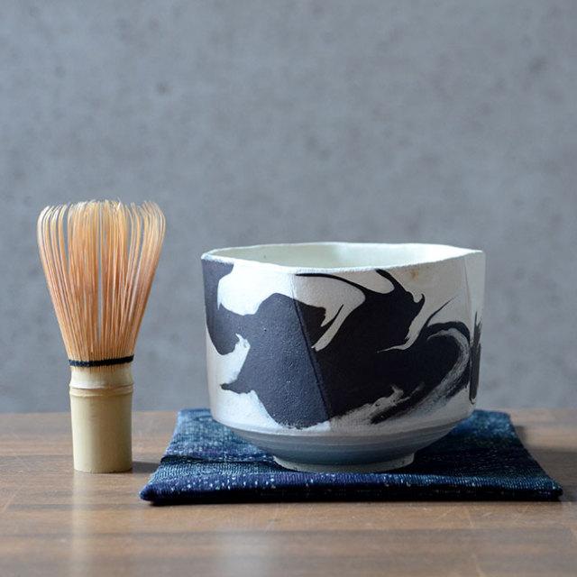和食器 彩墨流茶碗(共箱付A) 作家「瀬津純司」